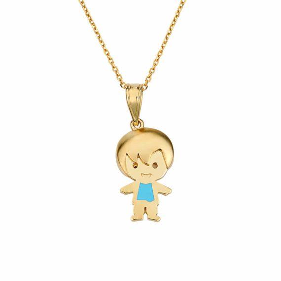 Κρεμαστό Αγοράκι Χρυσό Με Σμάλτο 002881
