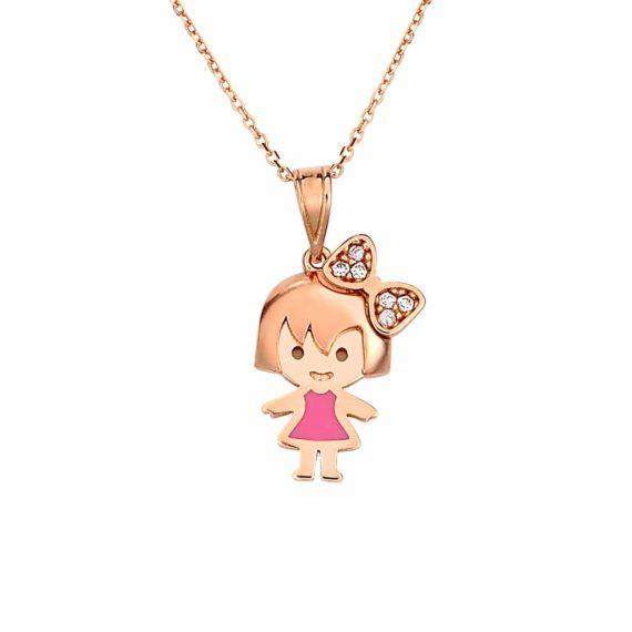 Κρεμαστό Κοριτσάκι Ροζ Χρυσό Με Σμάλτο Και Ζιργκόν 002882
