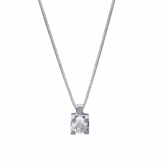 Κρεμαστό Τετράγωνο Λευκόχρυσο Με Διαμάντι 002912