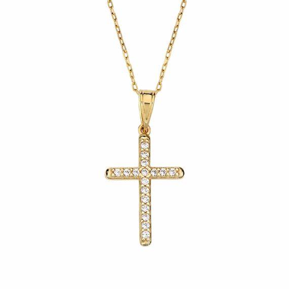 Λεπτός Σταυρός Χρυσός Με Ζιργκόν 002885