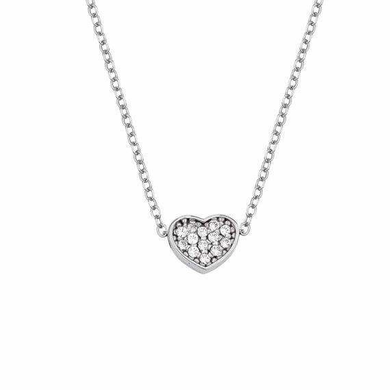 Μενταγιόν Καρδιά Λευκόχρυσο Με Ζιργκόν 002893