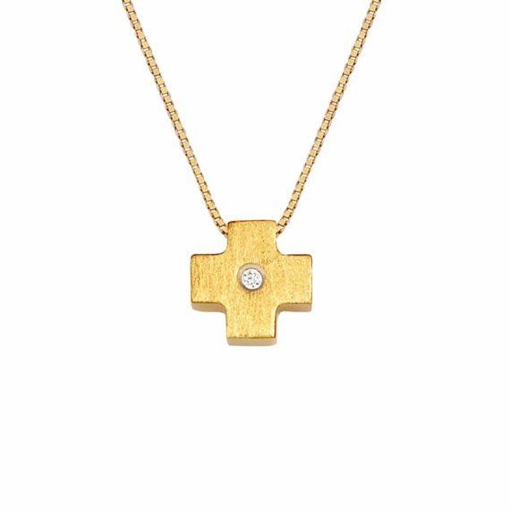 Μικρός Σταυρός Τετράγωνος Χρυσός Με Ζιργκόν 002910