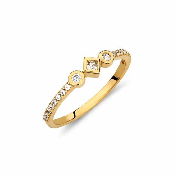 Μονόπετρο Δαχτυλίδι Χρυσό Με Ζιργκόν Και Γεωμετρικά Σχήματα 002878