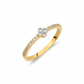 Μονόπετρο Δαχτυλίδι Μισόβερο Χρυσό Με Ζιργκόν 002876