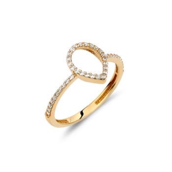 Μονόπετρο Δάκρυ Σειρέ Χρυσό Με Ζιργκόν 002901