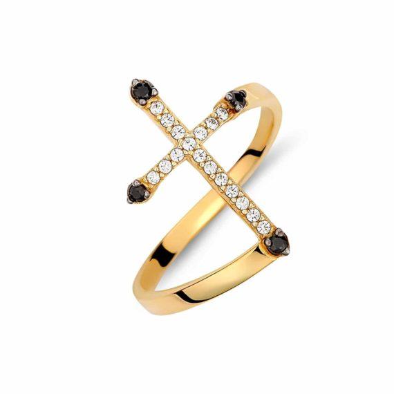 Μοντέρνο Δαχτυλίδι Σταυρός Χρυσό Με Άσπρο Και Μαύρο Ζιργκόν 002887