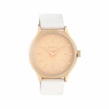 OOZOO Timepieces Rose Gold White Strap Women's Watch C10105