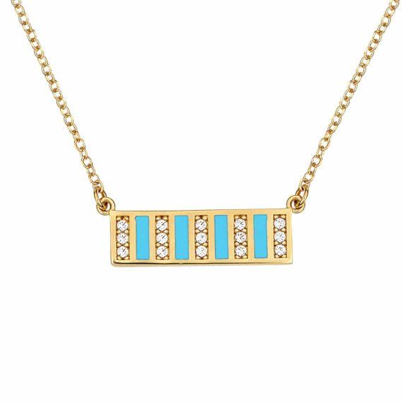 Ορθογώνιο Κρεμαστό Χρυσό Με Σμάλτο Και Ζιργκόν 002883