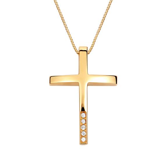 Σταυρός Λεπτός Χρυσός Με Ζιργκόν 002908