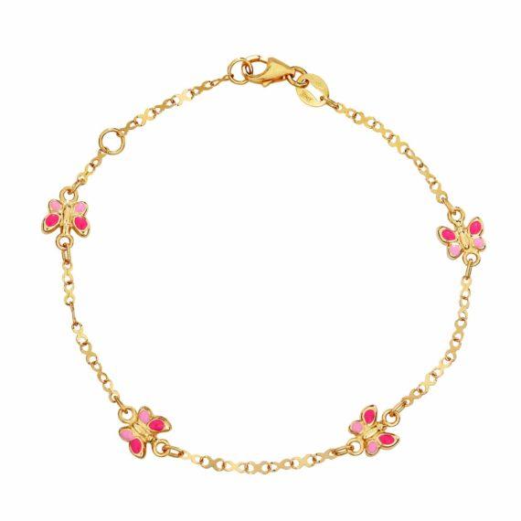 Βραχιόλι Πεταλούδες Χρυσό Με Δίχρωμο Σμάλτο 002895