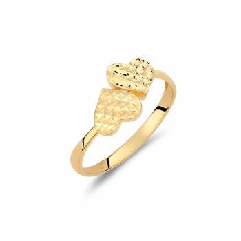 Δαχτυλίδι Καρδιές Χρυσό 002916