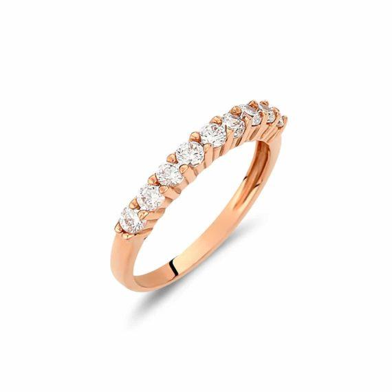 Δαχτυλίδι Σειρέ Ροζ Χρυσό Με Μεγάλα Ζιργκόν 002919