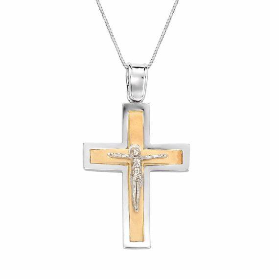 Κυρτός Σταυρός Ιησούς Χριστός Κίτρινος Και Λευκός Χρυσός 002939