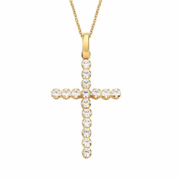 Λεπτός Σταυρός Χρυσός Καλυμμένος Με Ζιργκόν 002933