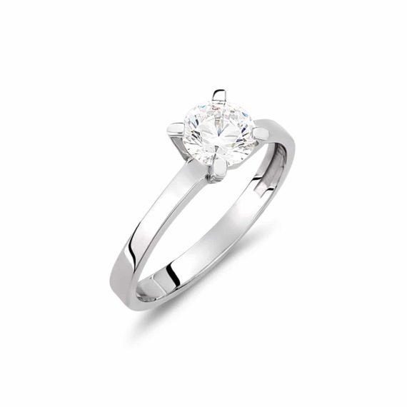 Μονόπετρο Δαχτυλίδι Λευκόχρυσο Με Ζιργκόν 002924