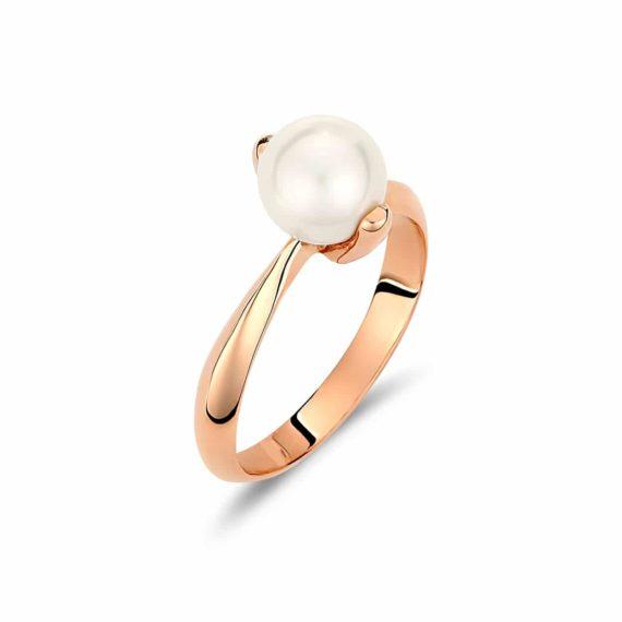 Μονόπετρο Δαχτυλίδι Ροζ Χρυσό Με Μαργαριτάρι 002914