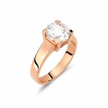 Μονόπετρο Δαχτυλίδι Ροζ Χρυσό Με Ζιργκόν 002923