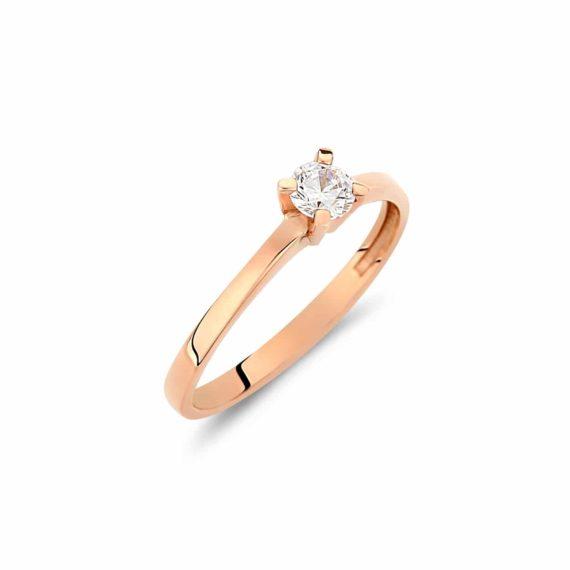 Μονόπετρο Δαχτυλίδι Ροζ Χρυσό Με Ζιργκόν 002927