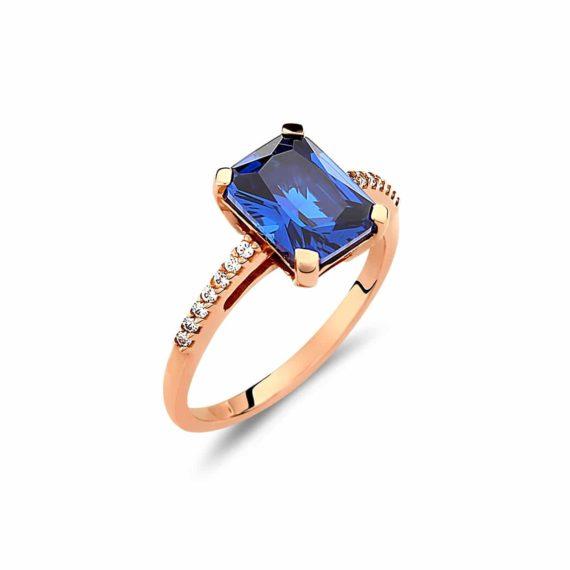Μονόπετρο Σειρέ Δαχτυλίδι Ροζ Χρυσό Με Ζιργκόν και Πολύτιμο Λίθο 002915