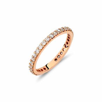 Ολόβερο Δαχτυλίδι Ροζ Χρυσό Με Ζιργκόν 002917