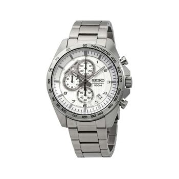 Seiko Quartz Chronograph Tachymeter Silver Men's Watch SSB317P1