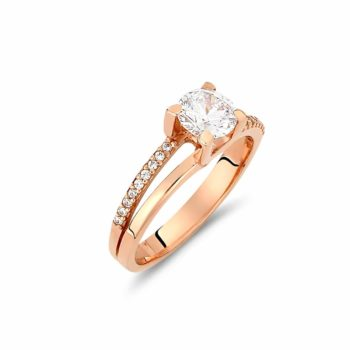Σειρέ Διπλό Μονόπετρο Δαχτυλίδι Ροζ Χρυσό Με Ζιργκόν 002926