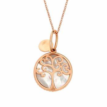 Σκαλιστό Μενταγιόν Δέντρο Ροζ Χρυσός Διπλής Όψης 002921 2