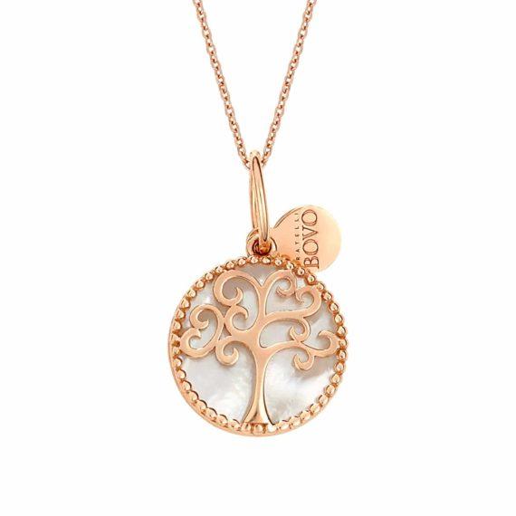 Σκαλιστό Μενταγιόν Δέντρο Ροζ Χρυσός Διπλής Όψης 002921
