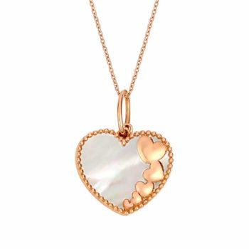 Σκαλιστό Μενταγιόν Καρδιές Ροζ Χρυσός Διπλής Όψης 002922