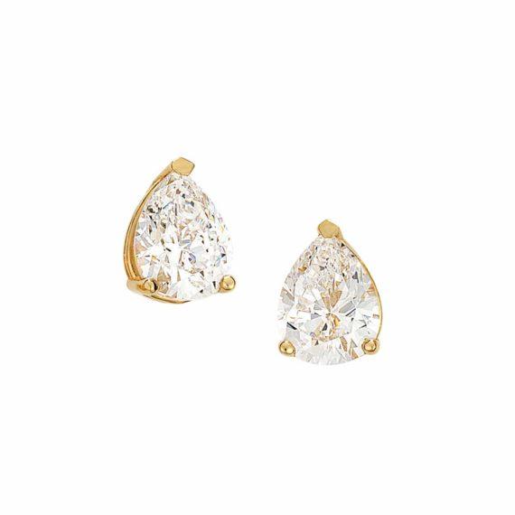 Σκουλαρίκι Καρφωτό Χρυσό Με Μεγάλο Ζιργκόν 002920