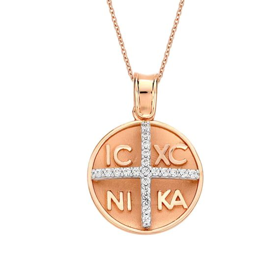 Στρόγγυλο Φυλαχτό Ιησούς Χριστός Ροζ Και Λευκός Χρυσός Διπλής Όψης 002936