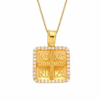 Τετράγωνο Φυλαχτό Ιησούς Χριστός Χρυσό Με Ζιργκόν Διπλής Όψης 002935
