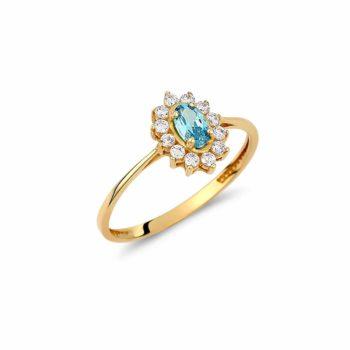 Δαχτυλίδι Λουλούδι Χρυσός Με Ζιργκόν Και Συνθετικό Τοπάζι 002949