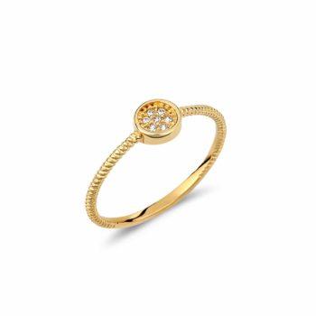 Δαχτυλίδι Σφυρήλατος Χρυσός Με Ζιργκόν 002948