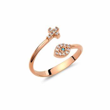 Μονόπετρο Δαχτυλίδι Σταυρουδάκι Χρυσό Με Λευκό Και Γαλάζιο Ζιργκόν 002943
