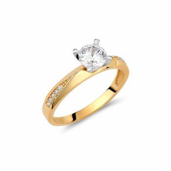Μονόπετρο Κίτρινος Και Λευκός Χρυσός Με Ζιργκόν 002944