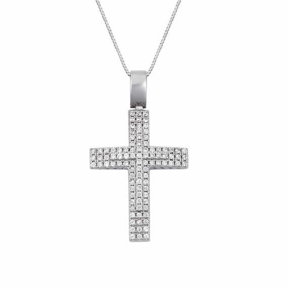 Σταυρός Λευκόχρυσος Ολόβερος Με Ζιργκόν 002950