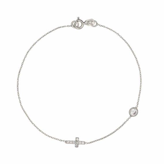 Βραχιόλι Αλυσίδα Με Σταυρό Λευκόχρυσο Με Ζιργκόν 002961