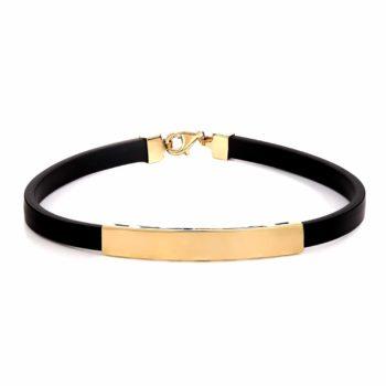 Βραχιόλι Μαύρο Καουτσούκ Και Χρυσός 002963