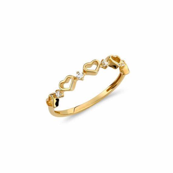 Δαχτυλίδι Καρδούλες Χρυσό Με Ζιργκόν 002966