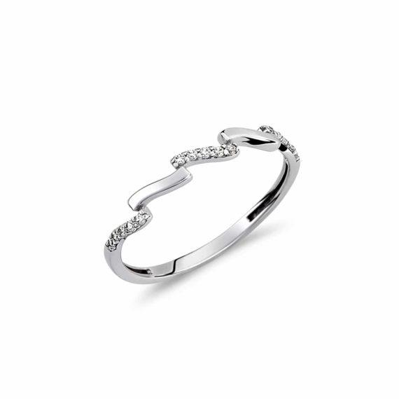 Κυματιστό Δαχτυλίδι Λευκόχρυσο Με Ζιργκόν 002967