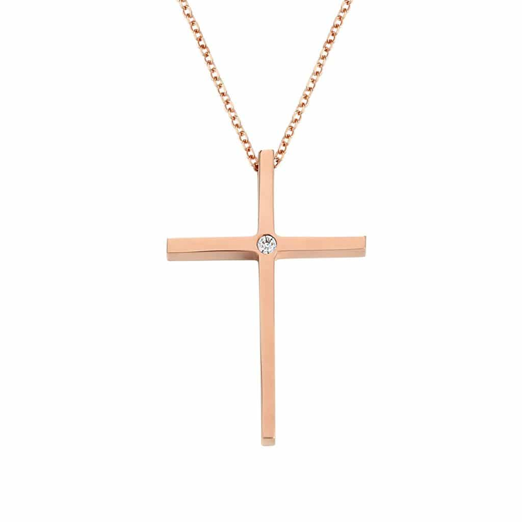 Λεπτός Σταυρός Ροζ Χρυσός Με Ζιργκόν 002970