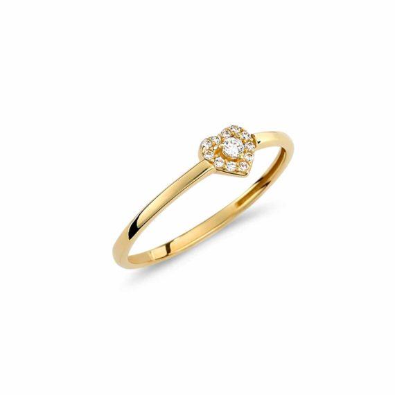 Μονόπετρο Καρδούλα Χρυσό Με Ζιργκόν 002964