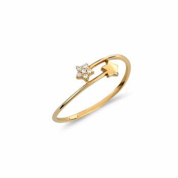 Μοντέρνο Δαχτυλίδι Αστεράκια Χρυσό Με Ζιργκόν 002965