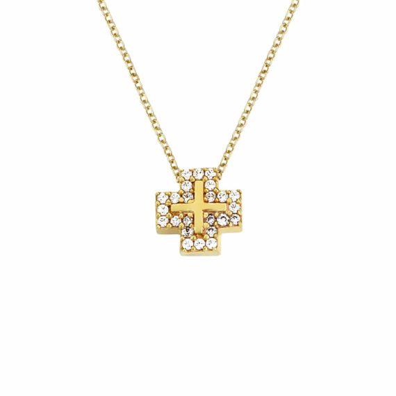 Τετράγωνο Σταυρουδάκι Χρυσό Με Ζιργκόν 002969