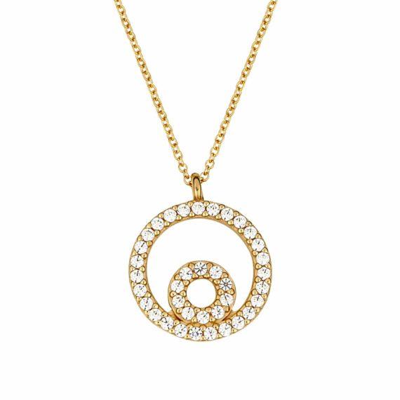 Διπλό Κρεμαστό Στρόγγυλο Χρυσό Με Ζιργκόν 002989