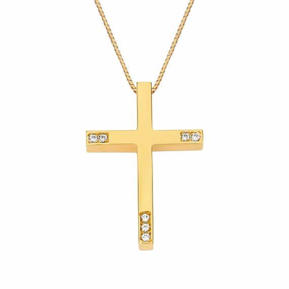 Λεπτός Σταυρός Χρυσός Με Ζιργκόν 002978