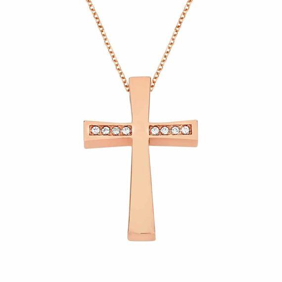 Λεπτός Σταυρός Ροζ Χρυσός Με Ζιργκόν 002979