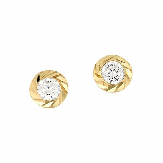 Σκουλαρίκια Στρόγγυλα Σκαλιστά Χρυσά Με Ζιργκόν 002995