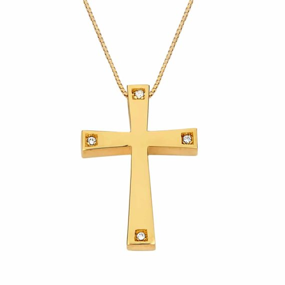 Σταυρός Χρυσός Με Ζιργκόν Στις Άκρες 002981
